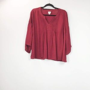 Merona Red Popover Blouse Top